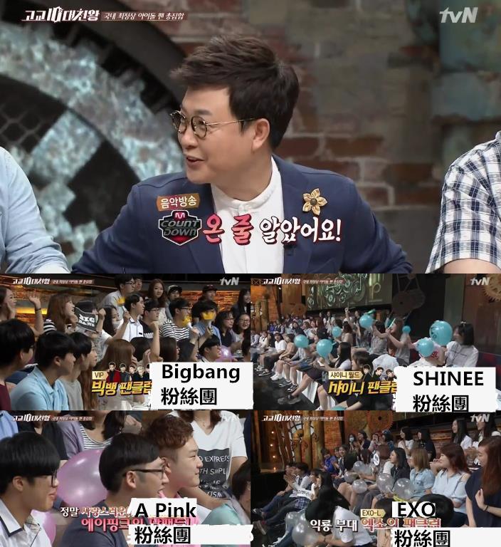 這一期邀請的嘉賓都是韓國當下人氣歌手的粉絲團:有BIGBANG、SHINee、Apink、EXO