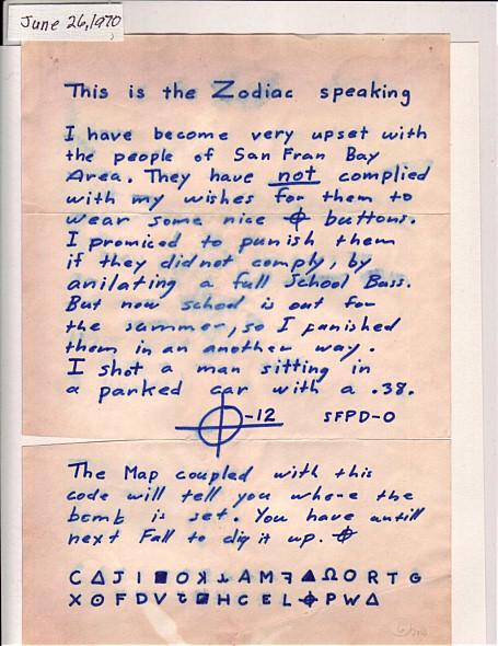 1969年8月7日,一家報社又收到了殺手的信,在信中,殺手第一次用「 Zodiac」(黃道十二宮)來稱呼自己,大名鼎鼎的「十二宮殺手 」由此得名。從此以後,每次與報社通信,十二宮殺手開頭必定是:「This is the Zodiac speaking 」。