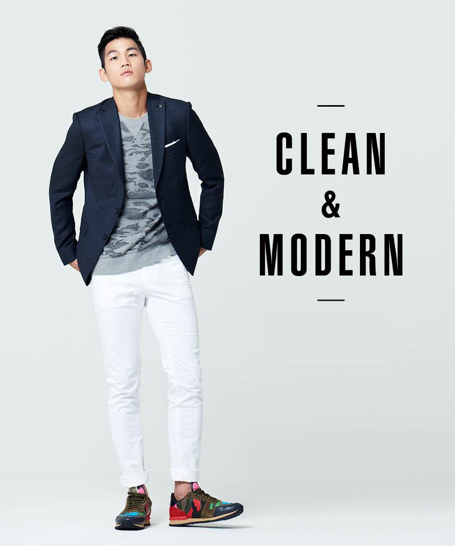 既然上身是深色系的西裝了,那下身選一件白色褲子就絕對錯不了。西裝裡面套一件綿T,再換成一雙運動鞋,週末的約會LOOK就完成了!