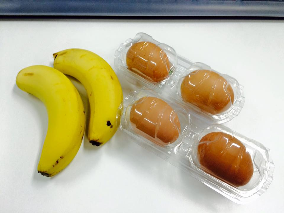 晚餐:香蕉2個+雞蛋4個(不吃蛋黃)