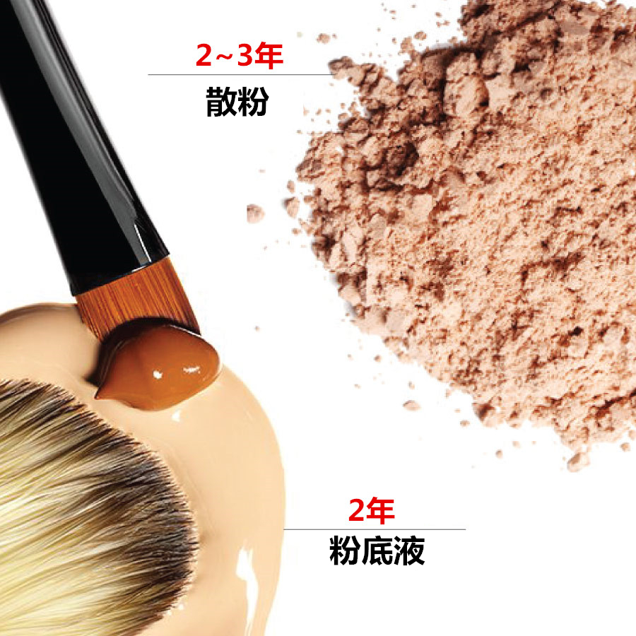 散粉和粉底液也因為劑型不同,保質期也會不一樣。一般開封後的保質期是2年,因為散粉的水分含量比粉底液少很多,所以有效期也會比較長一些。