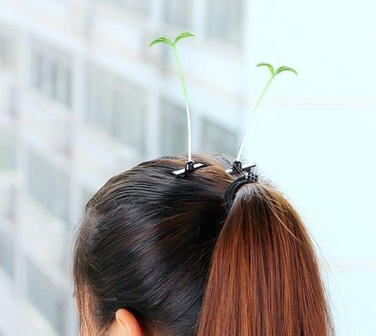 戴上之後好像頭髮變成了土壤,豆芽從人頭頂上長出一樣~