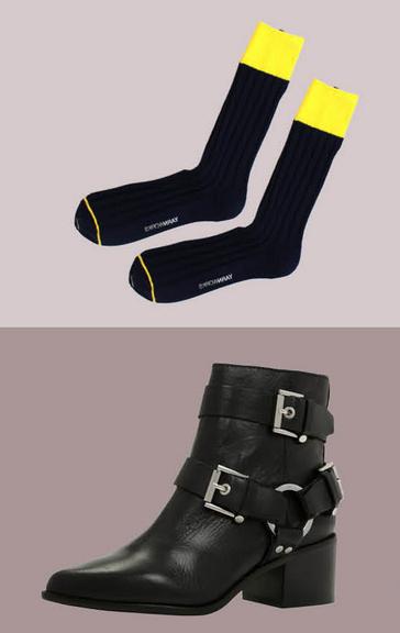 最經典的一款黑色機車短靴,搭配上微露出黃色的襪子,在酷感中注入一份青春活力。