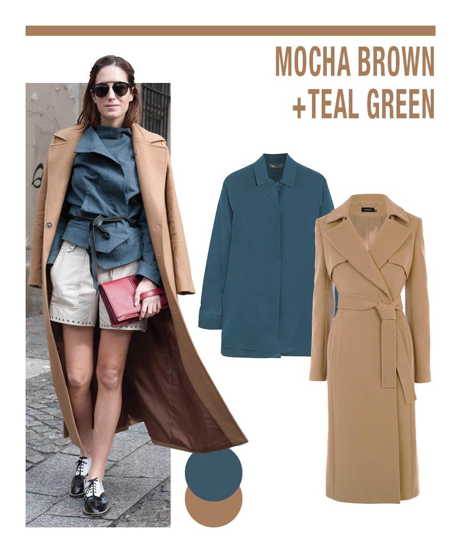 摩卡色+軍綠色 兩者都屬於陰鬱的色調,在色度上比較搭~