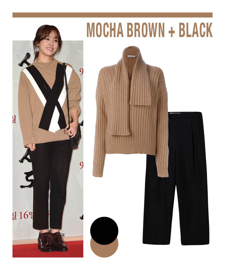 韓星韓志旼在某部影片發佈會現場,以一身摩卡色毛衫搭配黑色長褲,當選最佳著裝!秋季Daily Look中決不可缺少它們的身影:摩卡棕+黑