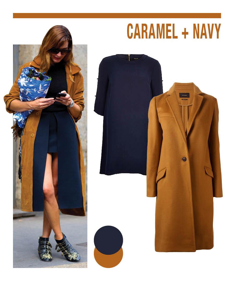 焦糖色+海軍藍 二者為互補色的關係,深暗的海軍藍可以襯托出焦糖色的高色彩度,是完美的組合...☆