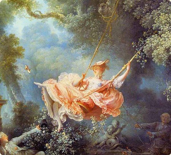 首先畫的中間有一個美麗的貴婦人正在蕩鞦韆..