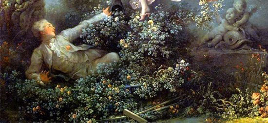 據悉這幅作品是當時某位有名的貴族委託畫家為他和其情婦所作...據考證那個年輕男子是銀行家喬里昂,這是一個低俗無聊的情節,在這幅畫上優美的自然和格調低俗的人物並存,正反映了畫家本人的特點「向貴婦人獻殷勤」。