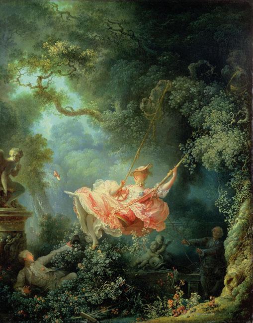 如果有幸能夠欣賞到這幅畫的話,肯定是會陷進去的... 弗拉戈納爾巧妙地運用明暗的變化,以纖細的筆致,精巧地描繪出了庭院和樹林之美。纖細的線條,有種類乎病態的魅惑,色彩也淡雅。由此可見弗拉戈納爾確實是位天資豐富的藝術家。