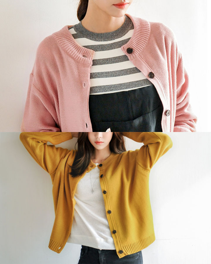 開襟衫呢~今年韓國流行果凍色!給低調的秋天裡填了一份色彩。