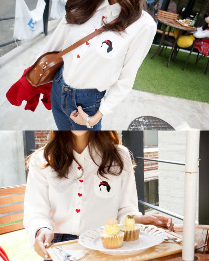 太白的襯衣未免太無聊,印在口袋的白雪公主頭+紅❤,可愛中還透著點小性感。