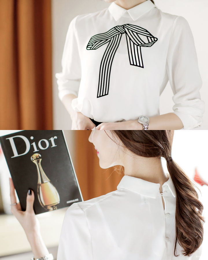 這款淑女風十足的白襯衫力推給職場女性,前面的蝴蝶結圖案和後面的並排紐扣小編都好喜歡啊!絕對讓你成熟中還透著些許少女味~