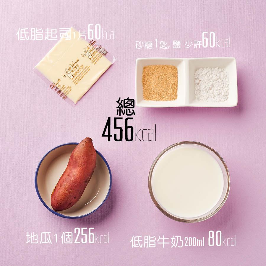 考量到熱量所以省略了原本食譜中的生奶油 用低脂牛奶取代一般牛奶 再放上一片低脂起司 低熱量也能有濃郁奶香!