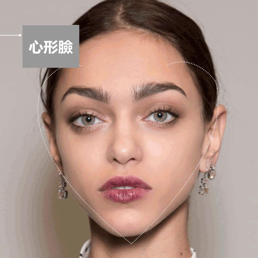 特點:上寬下窄  適合的眉型:圓形眉毛 眉尾修成弧形,眉毛的曲線柔軟並且充滿女人味,能夠很好地減弱尖下巴的存在感。