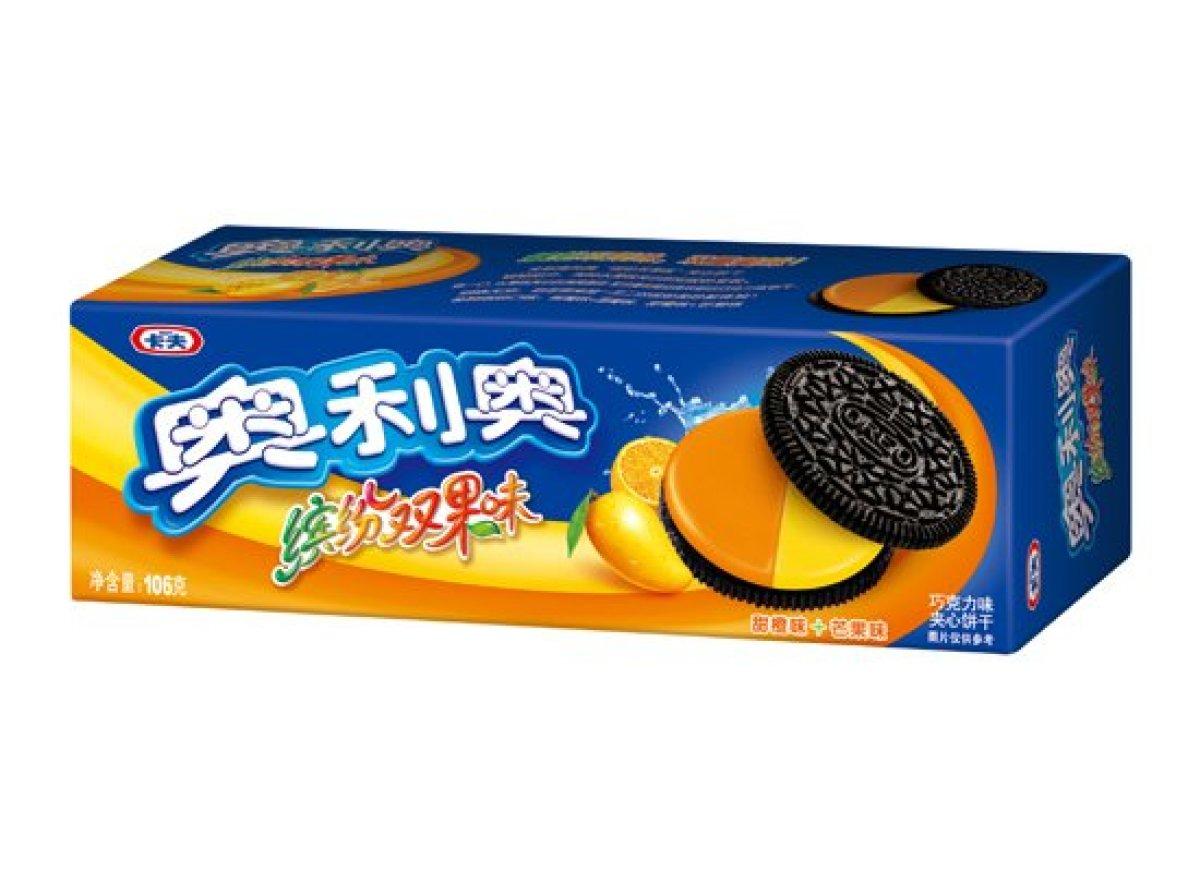 這款則是柳橙和芒果的雙拼搭配 (但芒果的味道不會壓過柳橙嗎?)