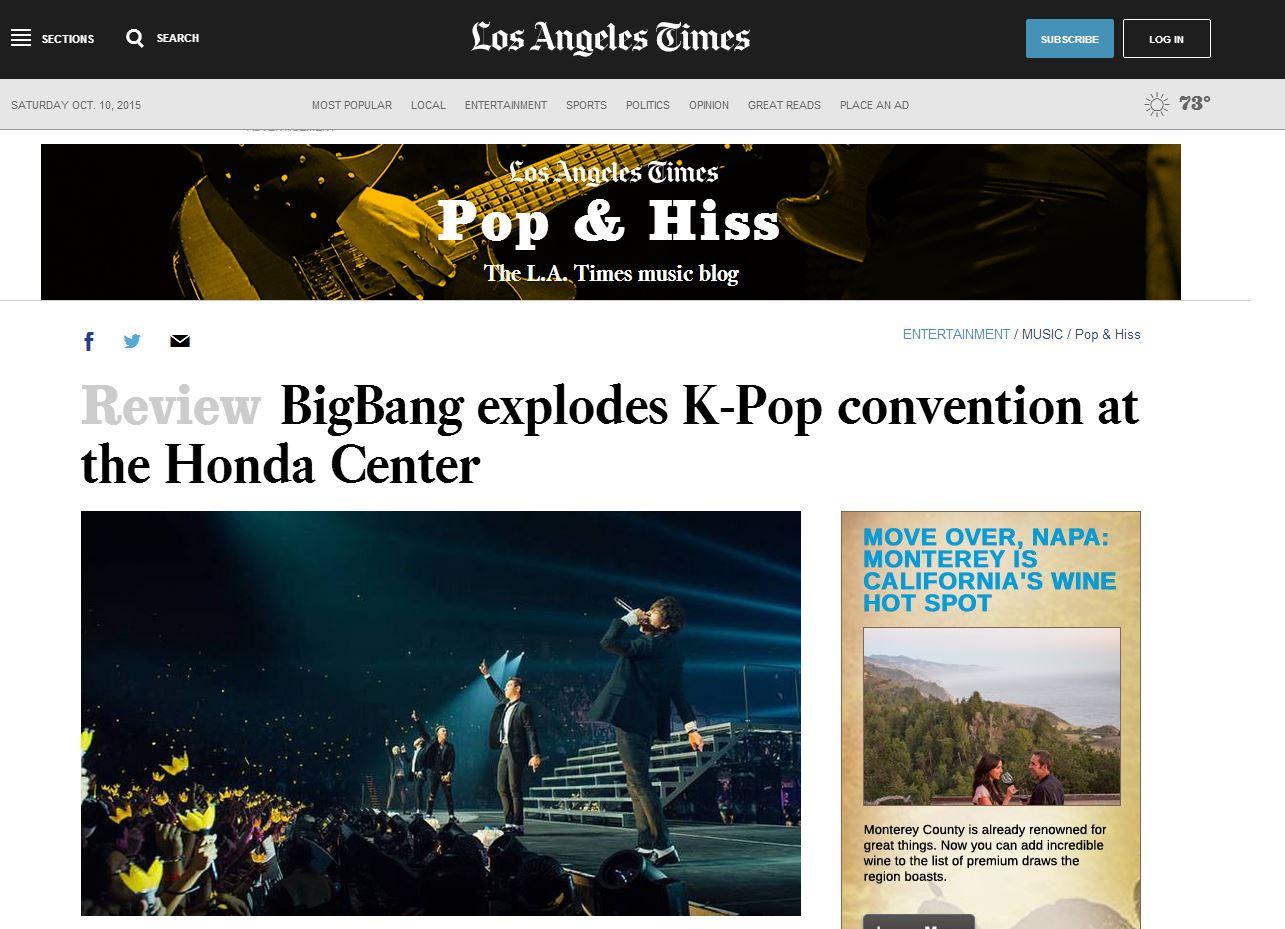 不僅如此,美國媒體《洛杉磯時報(LA Times)》就曾經極讚BIGBANG的演唱會