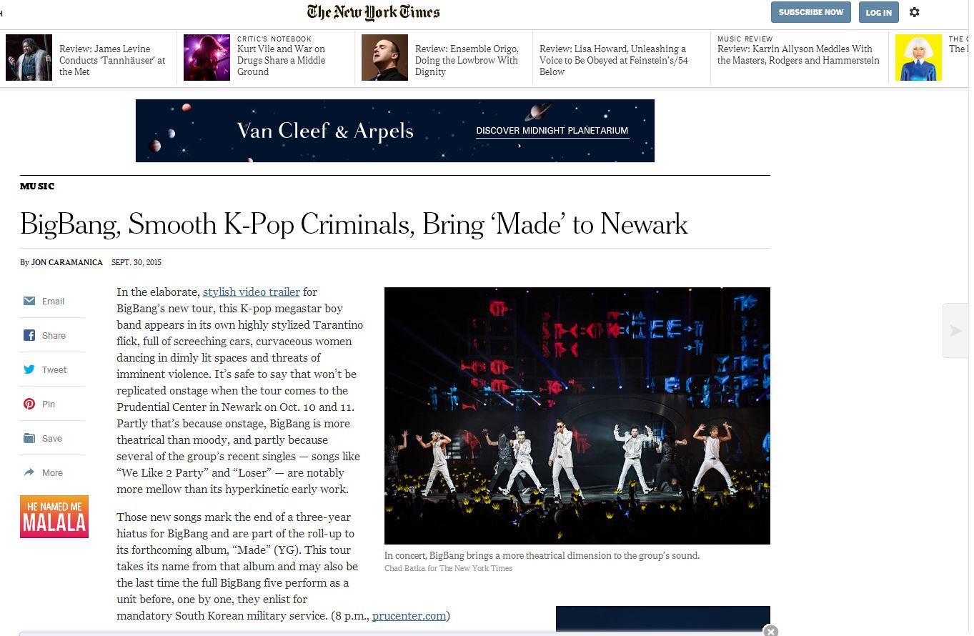 而唱到紐約後,換《紐約時報(NY Times)》對BIGBANG專門報導!果然KPOP威力還是驚人的啊~