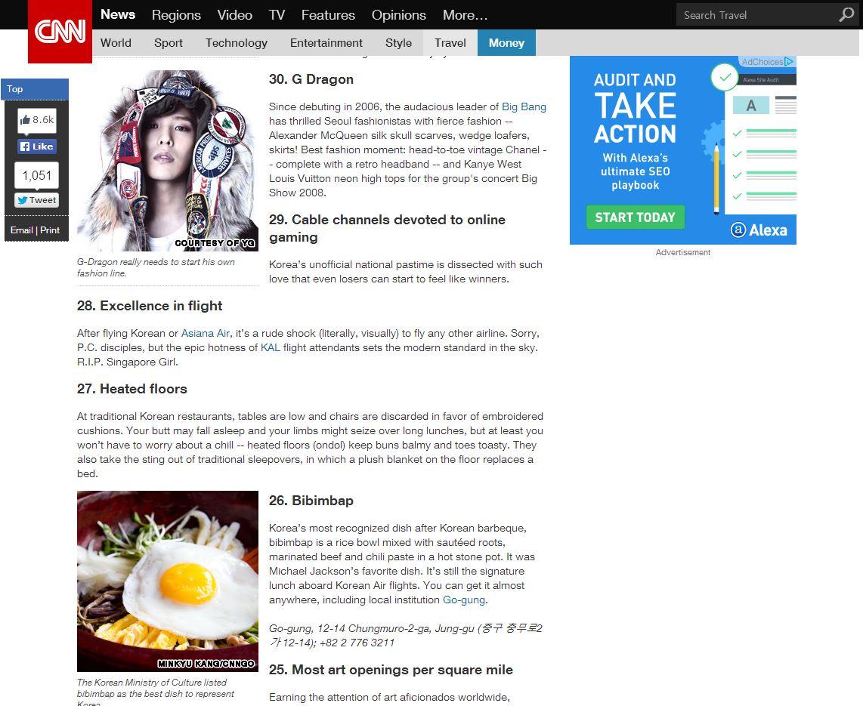 其實外媒早就對這組叫做BIGBANG的韓國團體感到好奇與興奮!4年前CNN就曾經做一篇專題,名為「韓國必須去的50個理由」其中,GD竟然成為理由之一啊!!!