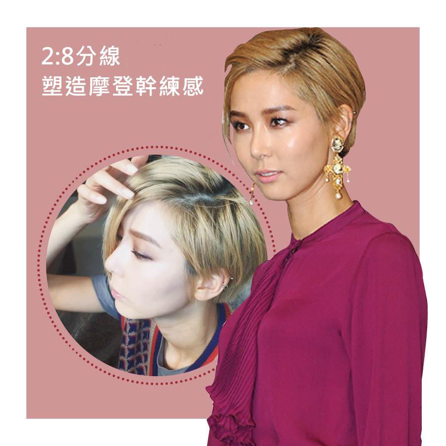 說起超短髮一定會想起的另一位明星  近年積極展現時尚天賦的藝人金娜憐 和高濬熙相似的髮型 但2:8的的造型帶出摩登的線條感