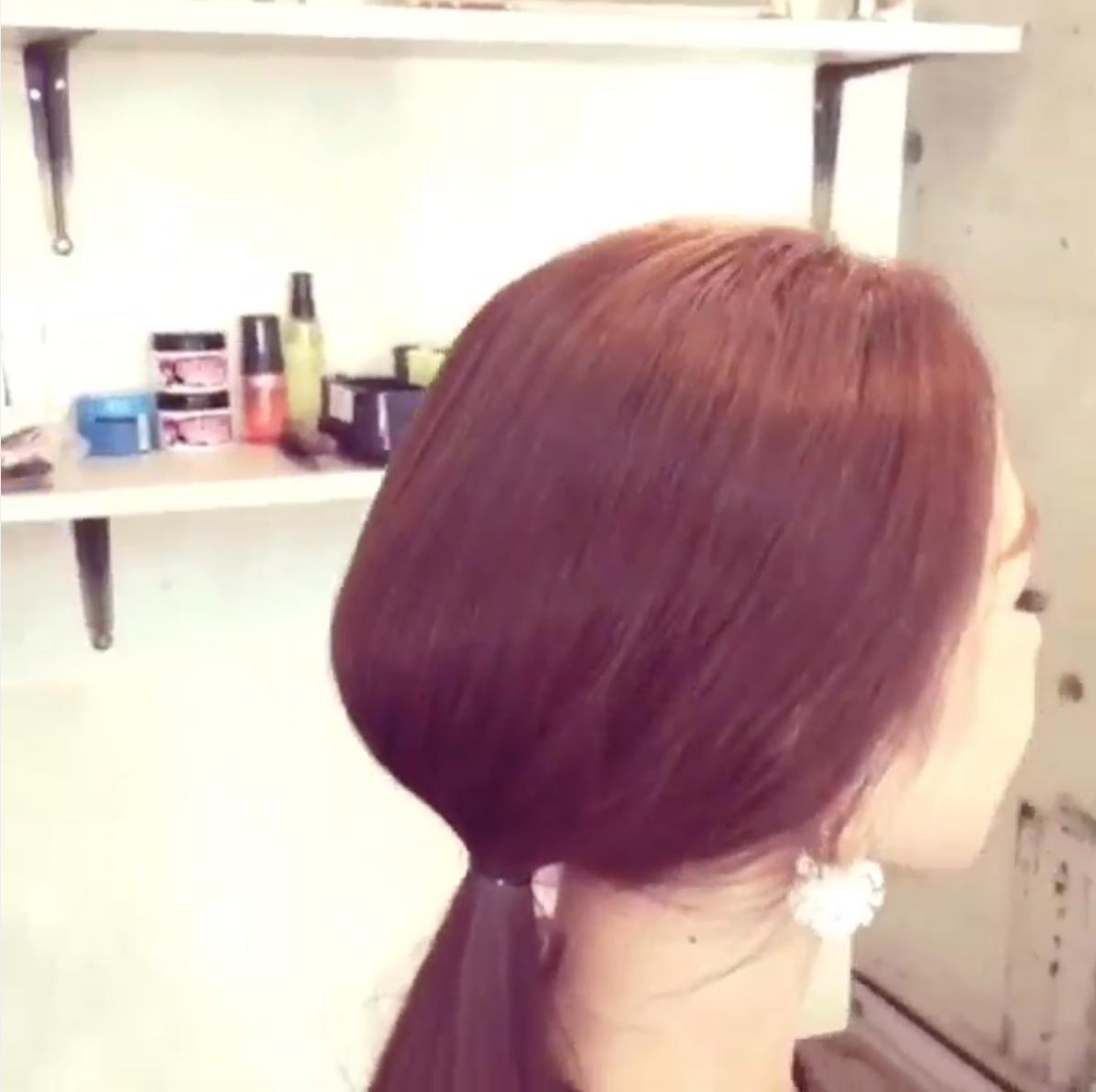 (4)最後再微調一下弧度,記得讓綁起來的頭髮保持住一個圓弧形,就完成囉!