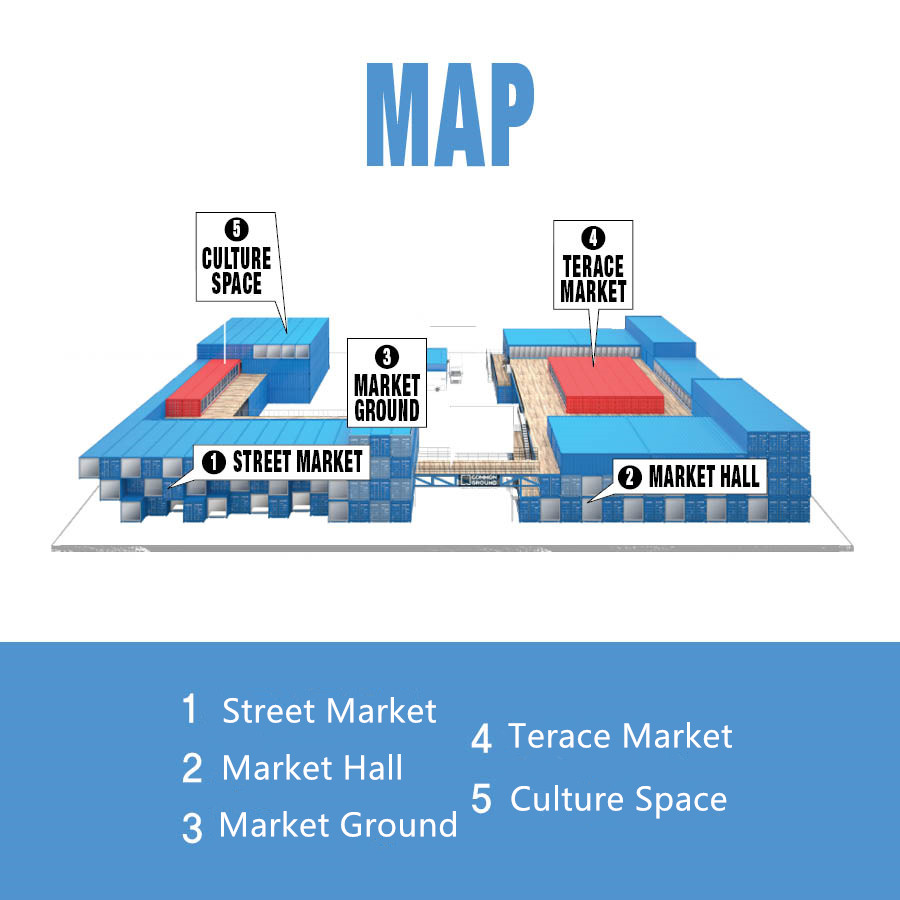 「Common Ground」主要是由多販售女性服飾的購物街 和專售男性口牌服飾的購物大廳組成 另外還有舉辦展覽的文化空間以及可以一覽「Common Groun」建築體的展示台 Terace market