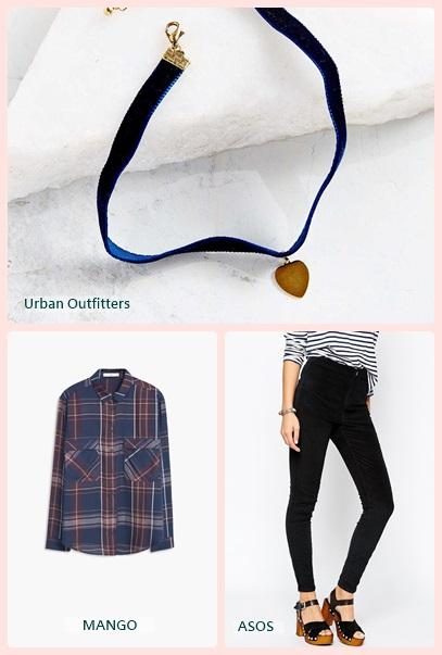 可透光的格紋襯衫搭配緊身褲,褲頭微紮讓身材看起來瘦一些。而有綴飾的短頸鍊則會修飾脖子的曲線。