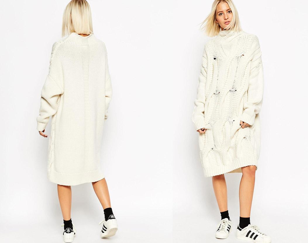 米白色系的連身針織長裙搭配運動鞋 則能帶來溫暖、乾淨的視覺效果