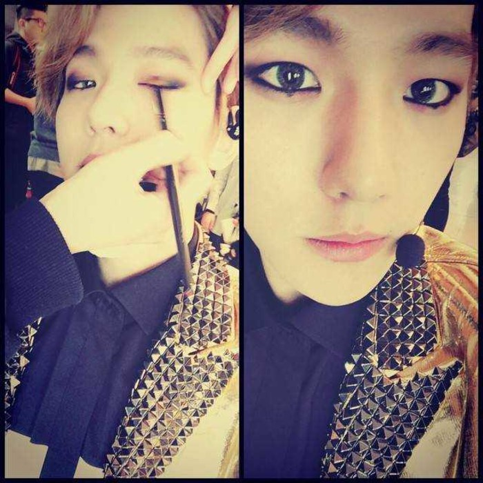 拍照片的人是不是以為畫了眼線就是韓國歐巴style~但是我的印象明明是像伯賢這樣啊~上圖的歐巴是哪裡怪怪der???