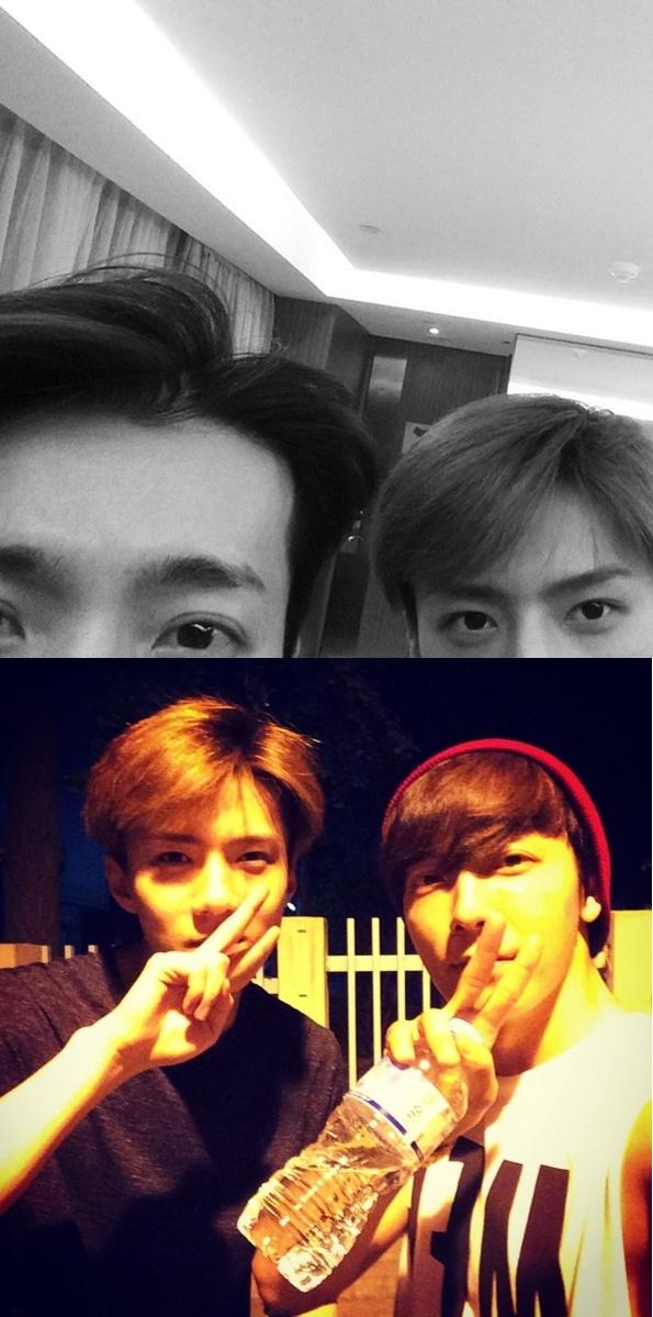 ★ SUPER JUNIOR 東海 & EXO 世勳 ★  東海和世勳的好交情也是眾所皆知的,你們看他們連拍照的感覺都超像的。