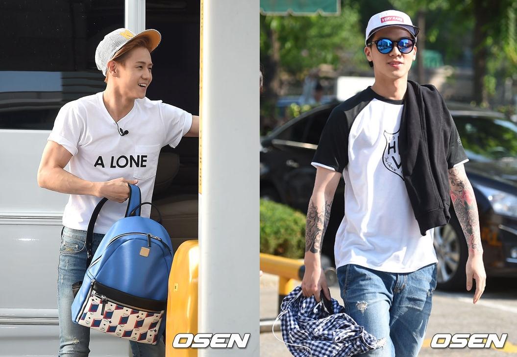 Beast 耀燮與TEEN TOP C.A.P在上班路上,以設計風格簡單,保有男孩淘氣感的帽子和大家打招呼!