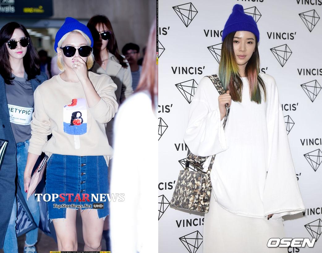 秋冬最常見的毛帽,特別是藍色等亮色系,頗受女星與女模們的歡迎。