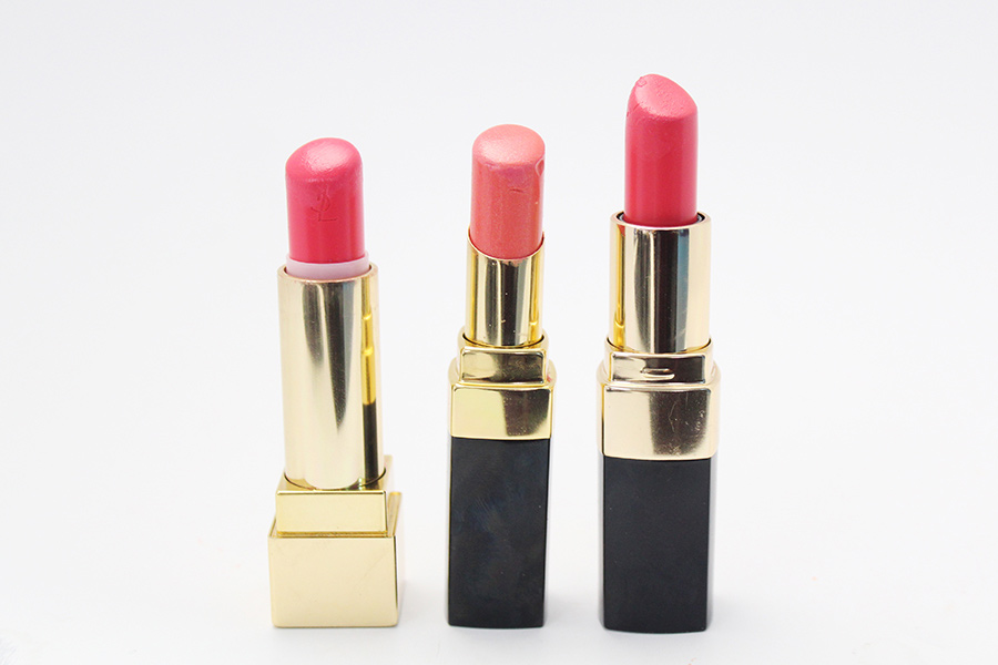 YSL Rouge Pur Couture 52號, CHANEL Rouge Coco Shine 69號, BOBBI BROWN Coral Gables.