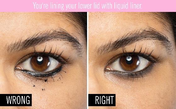 下眼線最好使用抗暈、抗染的眼線筆,我們的肌膚會因為外在因素,或是氣溫的關係而形成皮脂,或是流汗,尤其在眼周最為明顯,所以下眼線最好畫細細一條就好,如果想畫煙燻妝,在畫之前先選能長時間抗暈染的眼線筆比較保險喔!