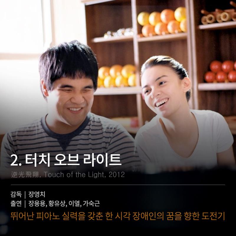 導演:張榮吉 演員:張榕容、黃裕翔、李烈、許芳宜 在釜山影展獲得《觀眾票選獎》的這部片 是主角的黃裕翔的故事改編  是講述全盲但夢想成為鋼琴家及希望成為舞蹈家的女孩互相鼓勵的溫暖故事