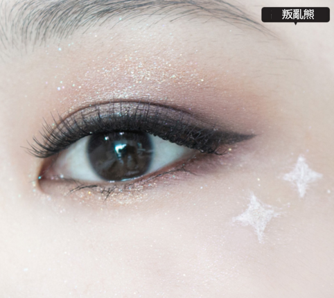 10.最後為了配合閃閃的眼妝,可以在眼尾下面畫上兩顆銀色小星星。