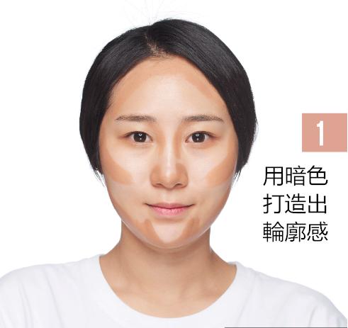 額頭、顴骨、 臉腮、下巴、鼻樑兩側先塗上暗色粉底液