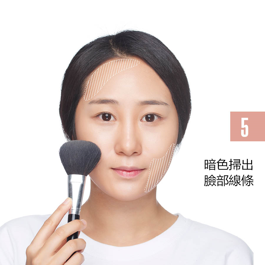 用暗色修容粉沿著額頭開始到臉腮輕輕的掃一遍