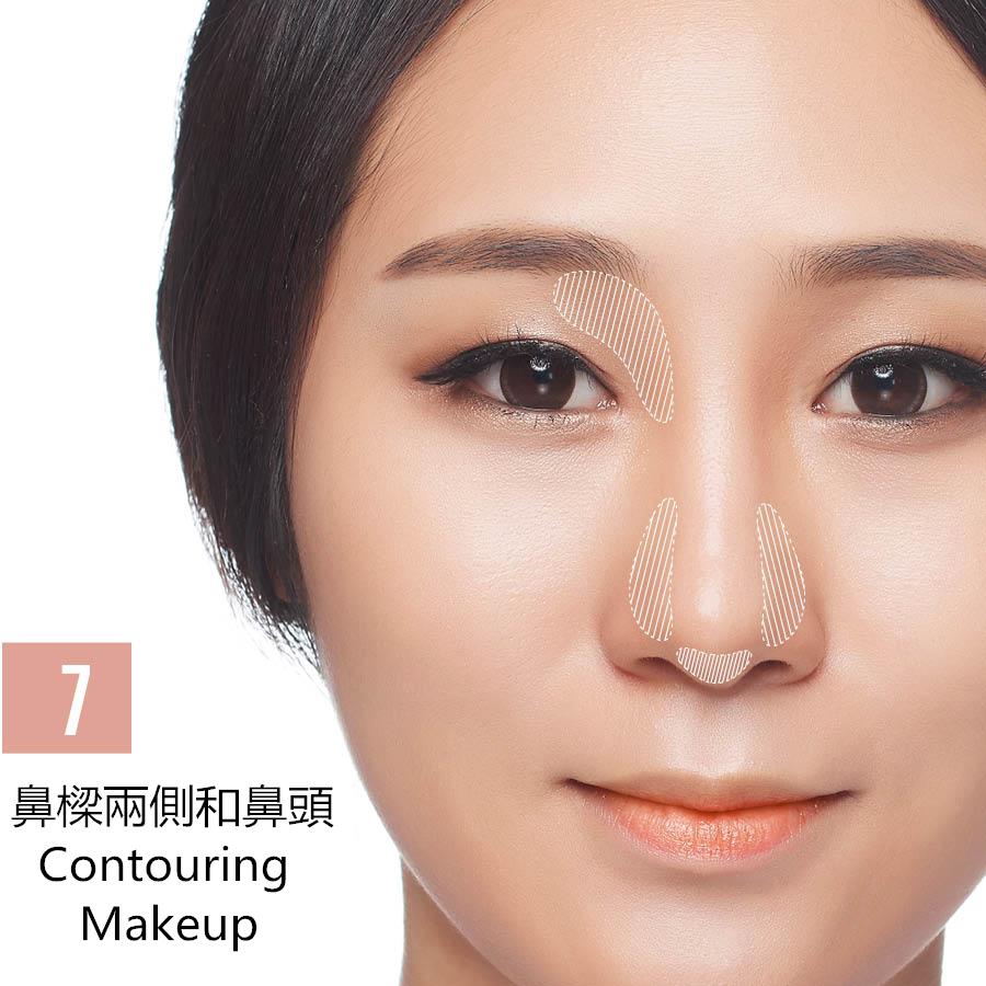 畫完眼妝後,上眼皮鏈接鼻樑的部分和鼻樑兩側,鼻頭也需要掃上暗色修容粉,千萬不要圖省事一字掃下來,只掃圖中所標的陰影部分就好了~