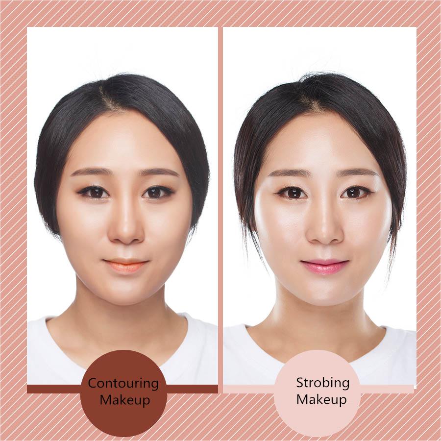Contouring Makeup和Strobing Makeup都是歐美非常流行的兩種修容術,也是截然相反的兩種修容術,前者整體偏暗,以暗色打在凹陷處,主打性感路線,而後者整體偏白,以亮色打在凸起處,讓臉部看起來更豐滿有光澤。