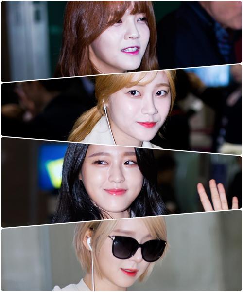 在機場捕捉到了AOA成員以不同風格的唇妝與色彩,提升造型的完整度,看起來都好美呀~
