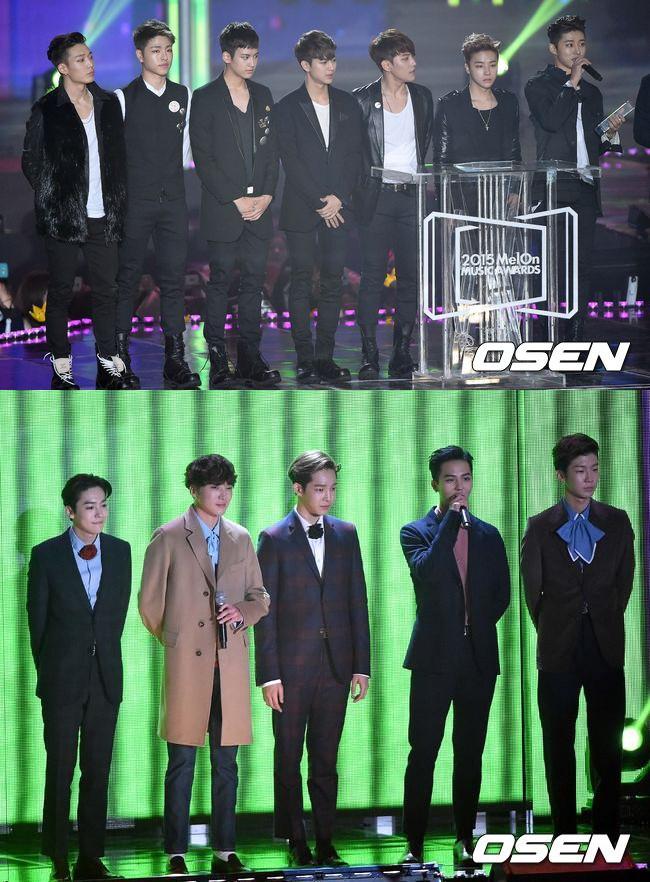 最佳男子新人獎則是頒給了iKON,頒獎人正是同門師兄,也是上一屆的新人獎得主WINNER,兩團從出道前比到出道後,是兄弟也是競爭對手,但表現都同樣搶眼!