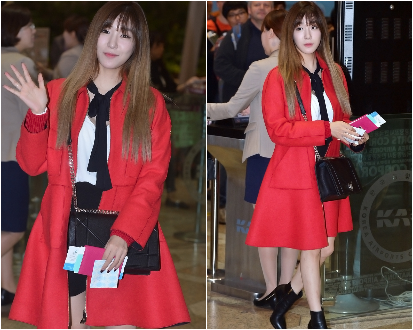 一樣是黑白系的兩件式裙裝,但配上大紅色的大衣,就會讓整體的造型更有立體感喔 ♥