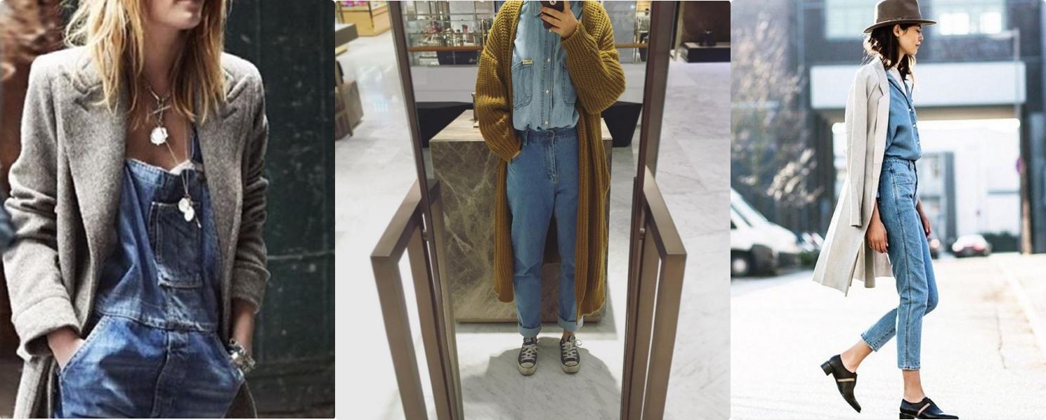 也可以在全身丹寧外搭配長版針織外套or大衣~ 很推薦過膝長度喔!看起來會很修長...