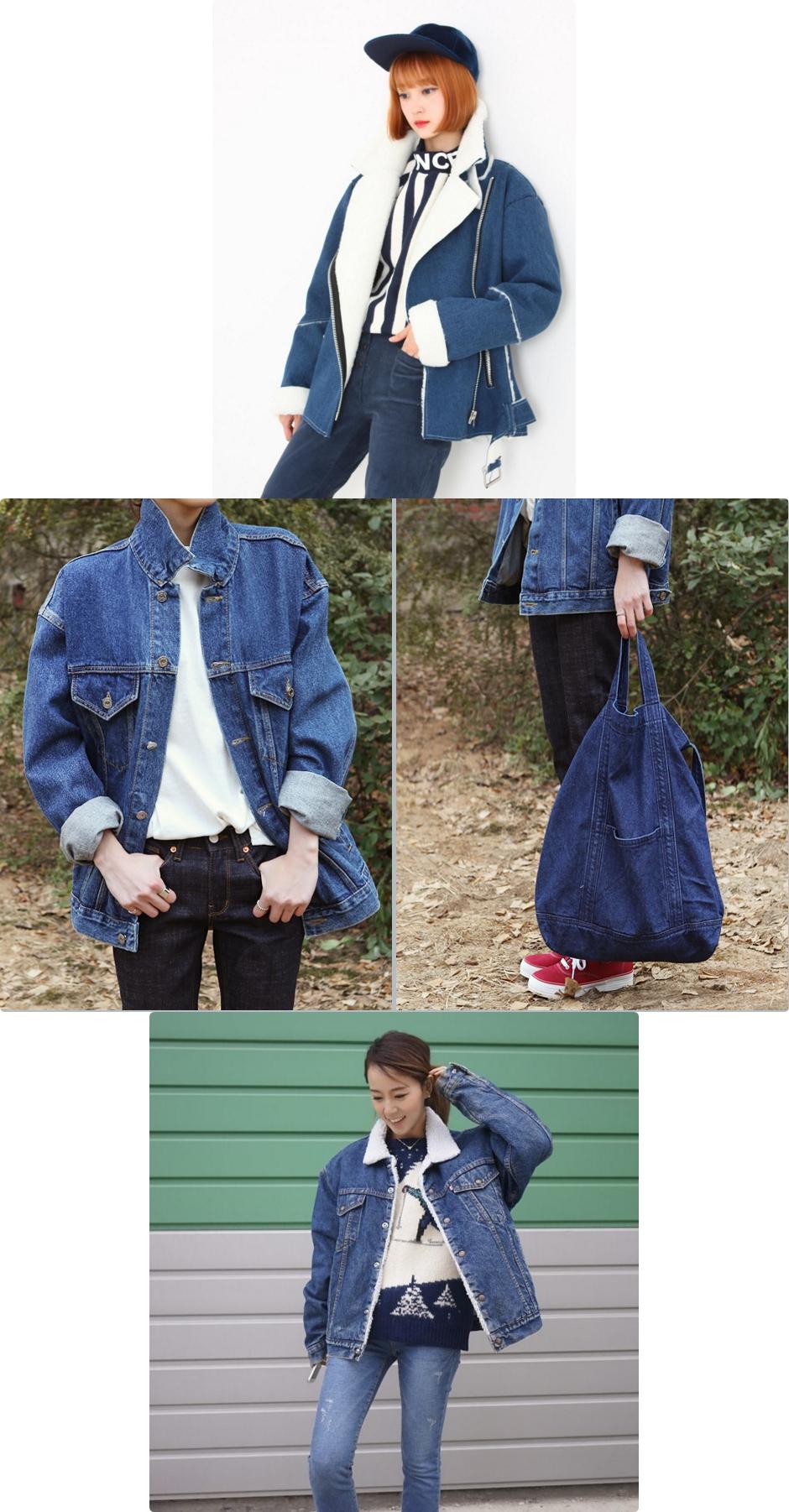 冬季的丹寧外套紛紛出現鋪棉、內刷毛的樣式 韓國女生通常會紮起頭髮展現乾淨的俐落感!!