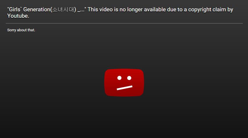 2天前讓所有sone(少女時代粉絲名稱)人心慌慌,因為少女時代名曲之一的《Gee》MV~竟然悄悄在youtube上被下架了...而且還說因為版權問題??