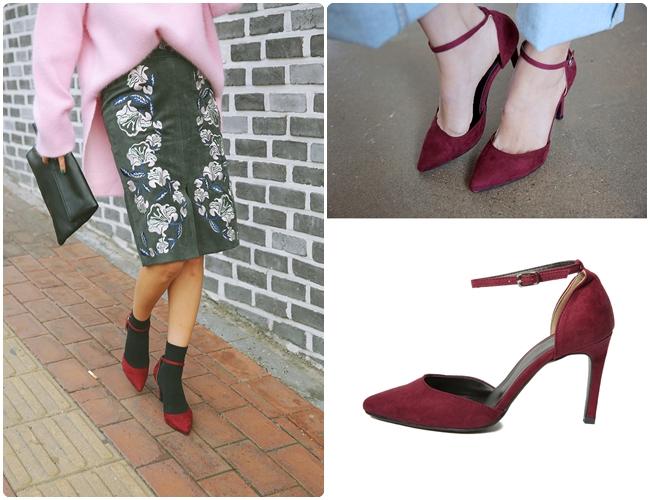 另一種款式尖頭踝帶鞋,是屬於熟女的最愛,這類的鞋款通常較多是麂皮設計,要搭配褲裝、裙裝都很合適。