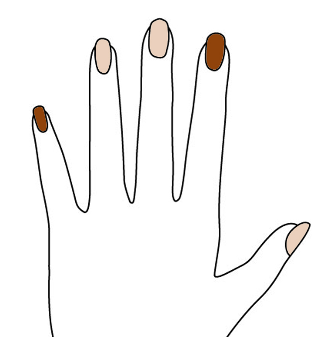 具體的上色從左到右依次是 巧克力色、藕色、藕色、巧克力色、藕色 (當然你也可以根據自己的眼光而定)