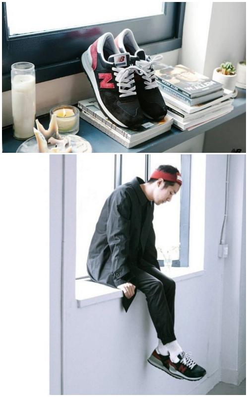 不過韓國獨立音樂人MY Q也曾穿上黑色款的990接受專訪,紅X黑的搭配把運動風變得很時髦~