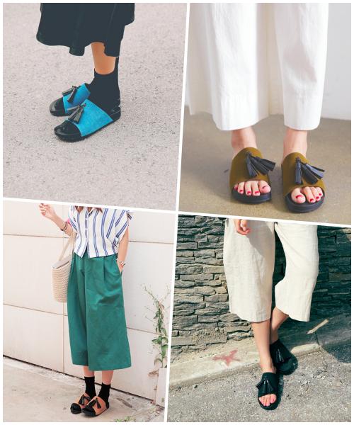 另外寬帶的拖鞋還有這種比較特殊設計的風格,加上今年最流行的流蘇設計,選擇顏色亮一點的鞋款,無論是搭配襪子或是單穿,都很時髦。