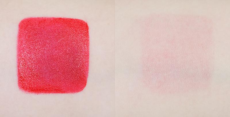 具有很清澈的紅色顏色的口紅. 很像是在原本的紅色顏色上滴了幾滴血紅色的感覺? 口紅本身很軟因此算是很好塗,嘴唇也不會脫皮. 對每個人都很適合的